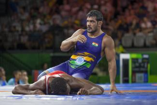 Sushil Kumar will enter at 74kg for India.